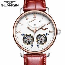 GUANQIN Fashion Men Luxury Brand Tourbillon Automatic Mechanical Watch Mens Sport Luminous Analog Clock Leather Strap Wristwatch