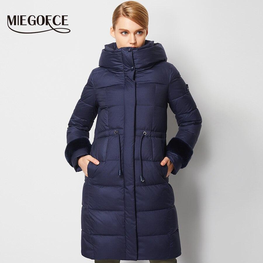 Новая зимняя коллекция miegofce 2016 женский зимний пуховик длинная теплая женская парка хит сезона зимнее пальто высокого качества