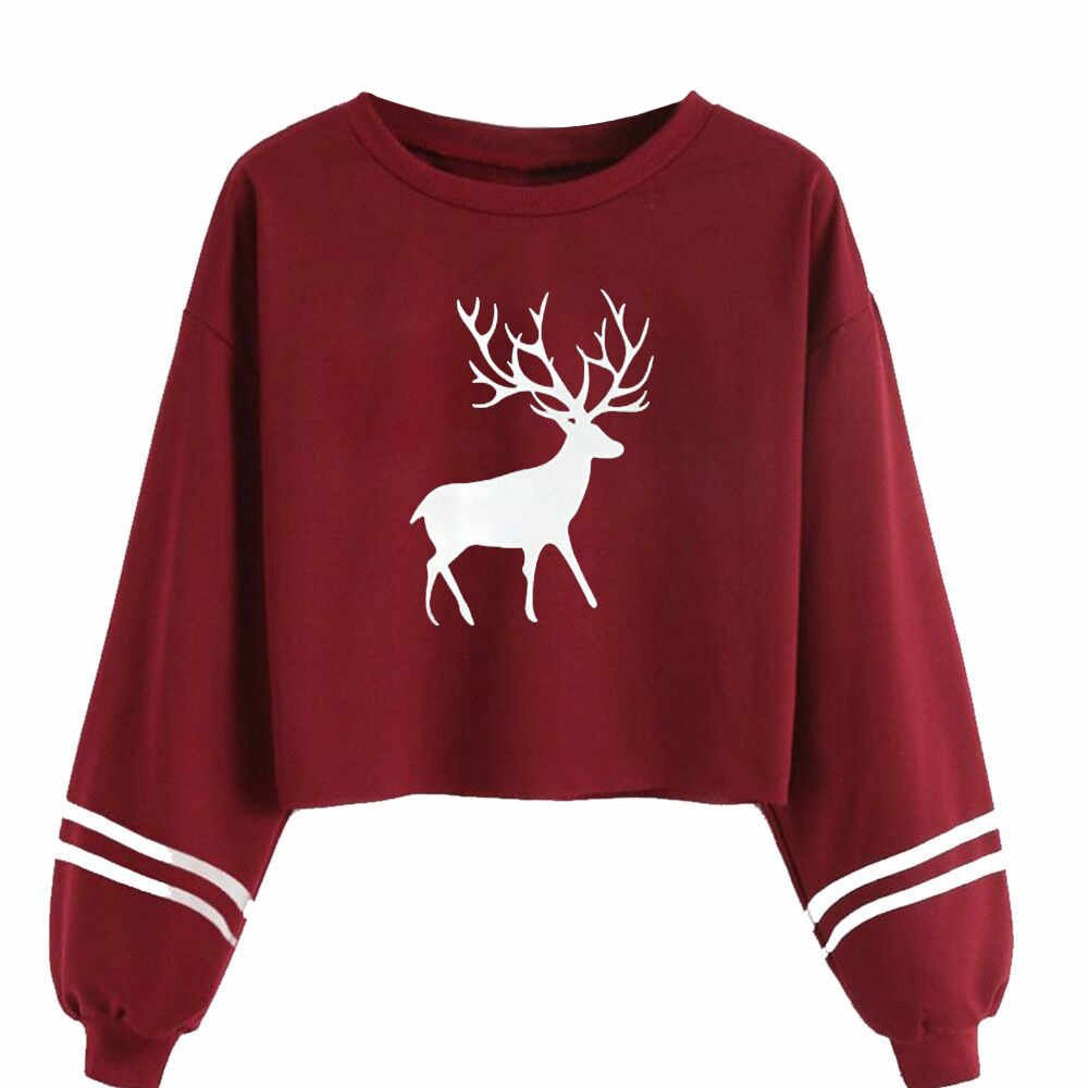 Dropship Casual Women Blouse Long Sleeve O Neck Deer Print Sweatshirt Fashion Women Girls Sport Tops Girls Blouse 0309