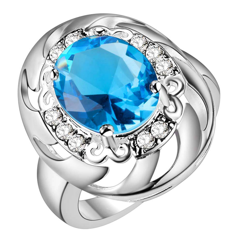 Exquisite Silver Jewelry Unique Design Ring Blue Stone Ring Size 8 A Variety Of Colors Ar494 Jewelry & Accessories