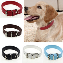 New 1piece fashion adjustable seat belt artificial leather pet dog puppies collar buckle neckband six colors two sizes S/M(China)