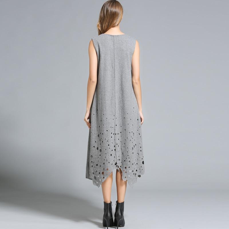 Sonbahar kış elbiseler kadın Kolsuz Hollow out Uzun Gevşek tarzı - Bayan Giyimi - Fotoğraf 5