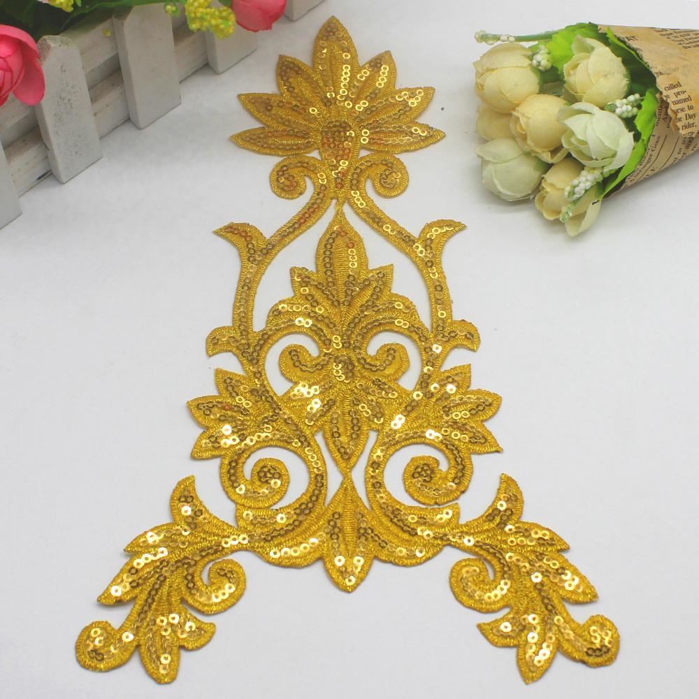 Sequenced 꽃은 5 조각을 입힌다 철에 금은 꽃을 치십시오 모자를 쓰십시오 꽃 Aplique 15 * 25cm