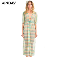 AINDAV Chiffon Bikini Cover Ups Beach Long Dress Bathing Suit Female Tunic Sexy Summer Swimwear Dress