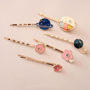 1PC Moon Plant Hair Clips For Women Girls Pink Flower Hair Clip Stick Metal Gold Color Glaze Hairpin Hair Styling Accessories