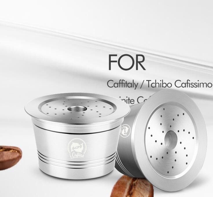 Icafilas Refillable Stainless Steel Reusable Coffee Capsule Filter For Caffitaly Tchibo Manual Ca Coffee Machine
