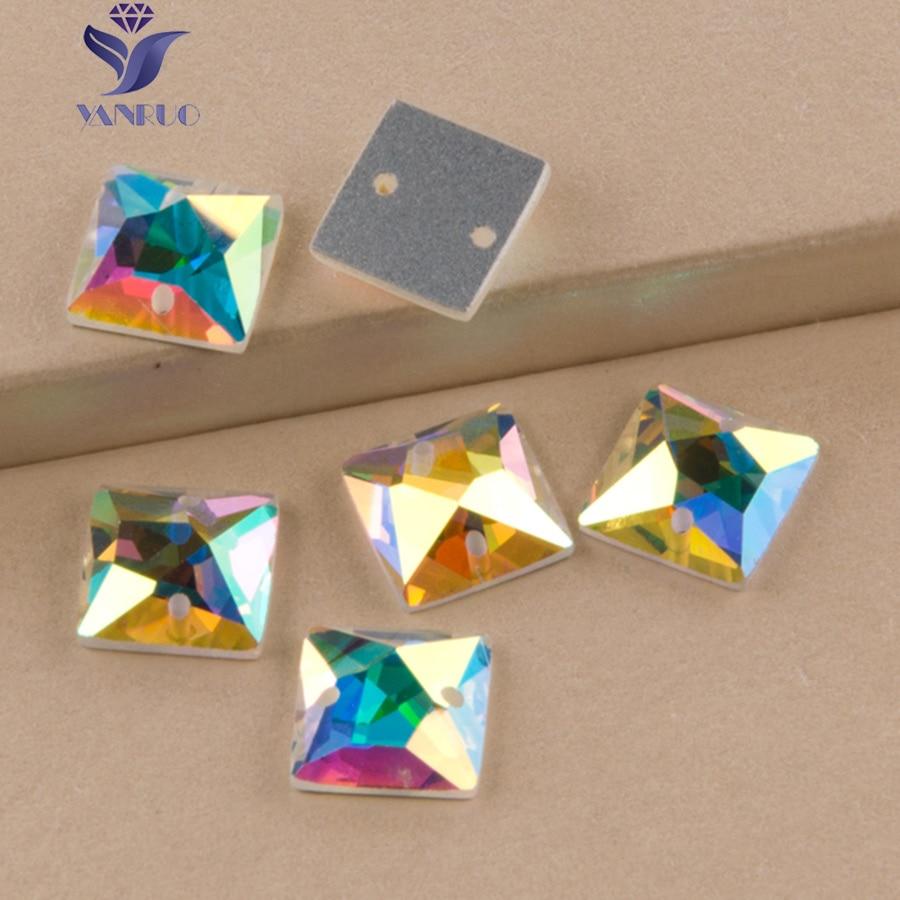 YANRUO 2308TH 정사각형 10 14 20 36 mm 크리스탈 AB 유리 모조 다이아몬드 크리스탈 스트 라스 스톤 스톤스 바느질 실크 비즈 의류 의류