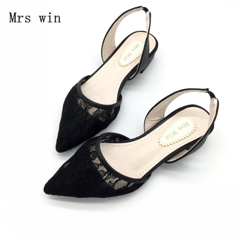 2018 Newest Shoes Women Fashion Female Sandals Lace Low Square Heel Back Strap Summer Ladies Work Shoes Footwear Plus Size Black