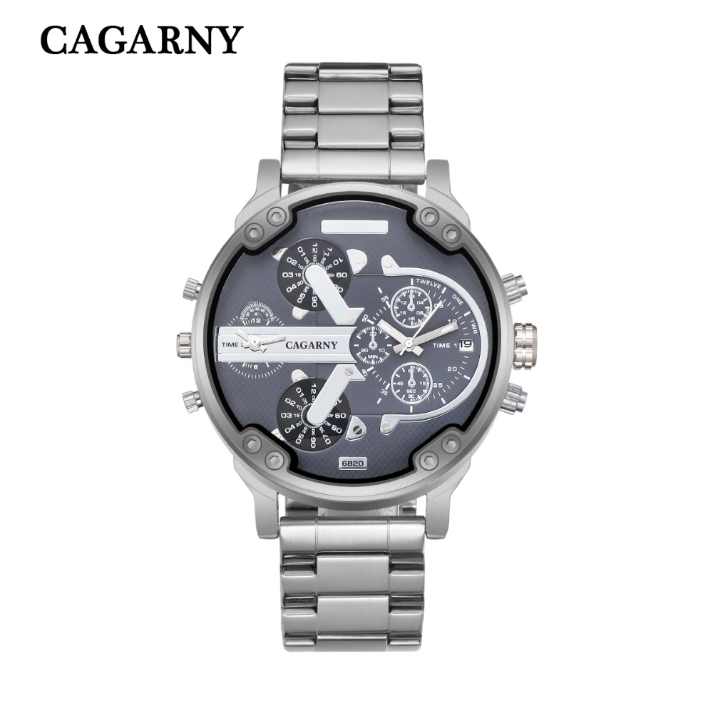 very cool dz 7314 7313 7333 7371 big case mens watches full steel band dual time zones miltiary watch men quartz wrist watch free shhipping (84)