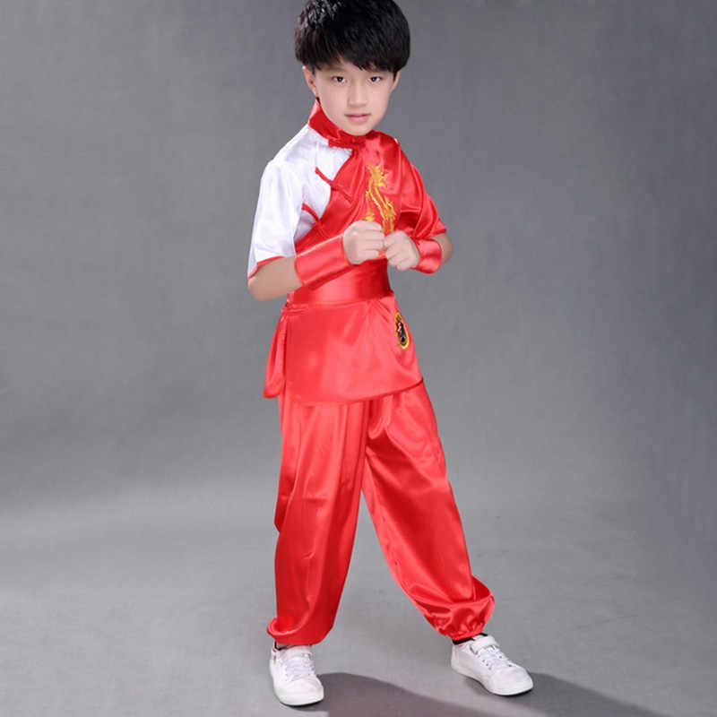 Детские китайские традиционные для ушу Одежда для детей форма для единоборств костюм кунг-фу для девочек и мальчиков сценический костюм