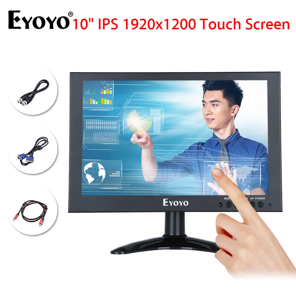 Eyoyo 10inch Full HD 1920x1200 IPS Touch Screen LED Monitor 178degree Black With VGA AV  ...