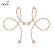Badu Irregular Twisted Metal Stud Earrings for Women Exaggerated Gold Silver Rhinestone Earring Fashion Jewelry Wholesale
