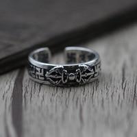 Thaise Zilveren Sieraden Retro Koning Stamper Miljoen Woorden Ring S925 Sterling Zilveren Mannen Vrouwen Modellen Open Ring