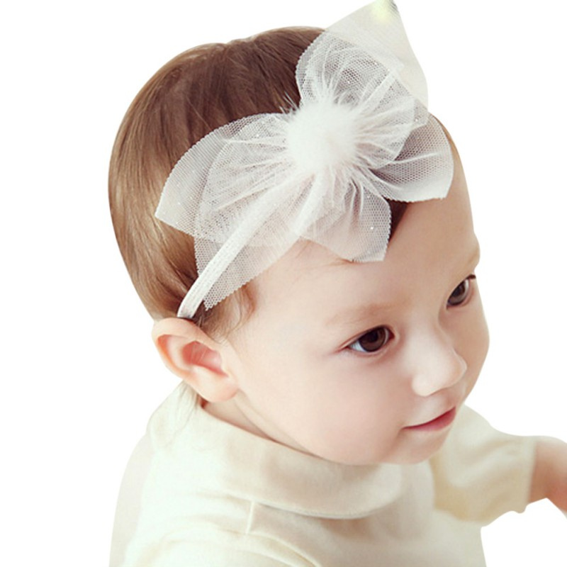New Solid Fashion Headband Ball Mesh Flower Cute Princess Baby Girl Headbands Toddler Photography Hairband Festival Bridesmaid