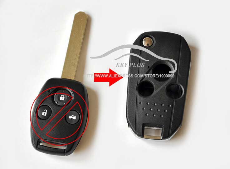 Modified Flip Folding Remote Key Shell Case 3 Buttons For Honda Fit Accord Odyssey Civic ...
