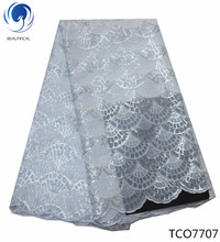 BEAUTIFICAL white organza fabric african lace in switzerland with sequins wedding high quality TCO77