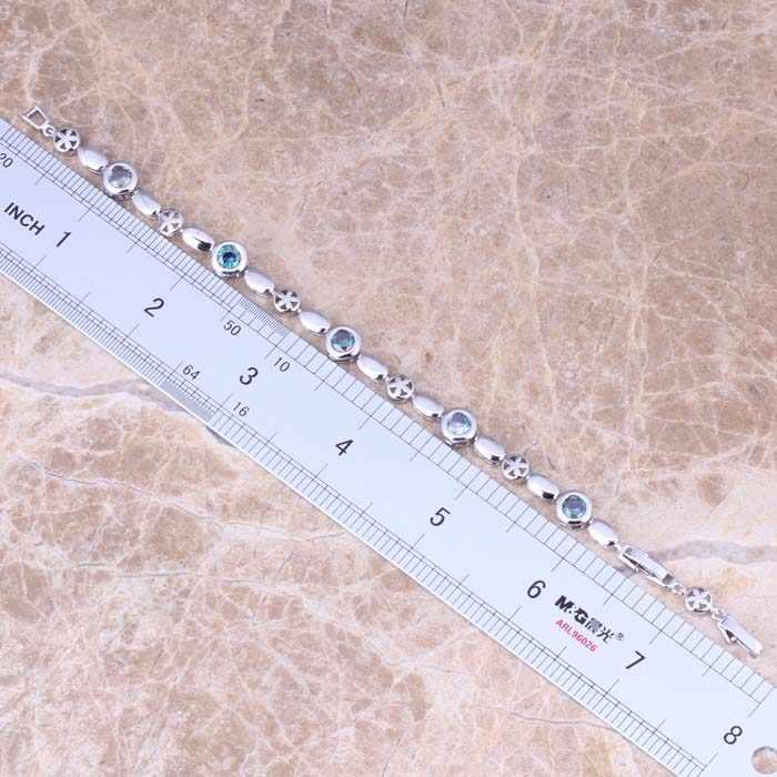 Pulsera de cadena de eslabones de Plata de Ley 925 Zirconia cúbica arcoíris atractiva 6,5-7,5 pulgadas S0714