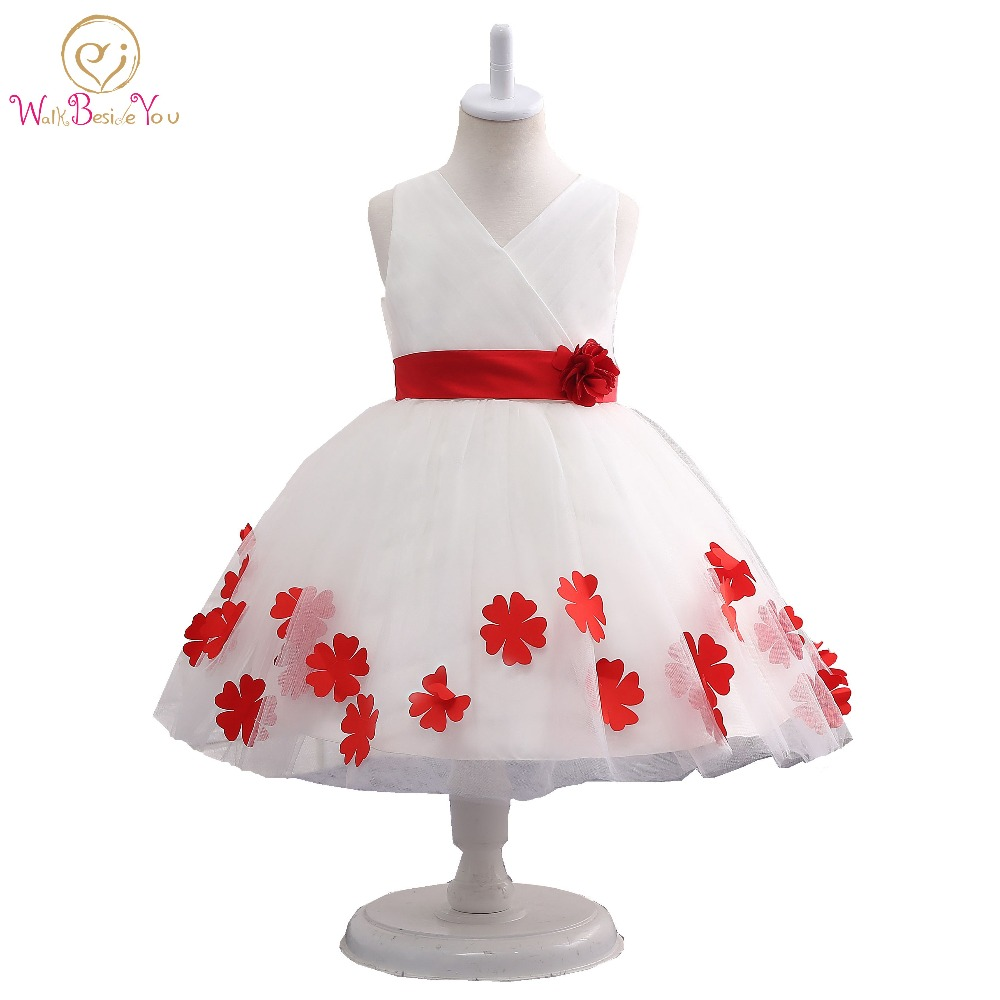 White Red Flower Girl Dress with Belt Floral V-neck Ball Gown Graduation Gowns Children First Communion Dresses for Girls