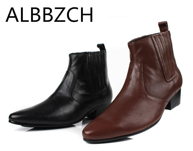New Mens Chelsea Boots Male Men Genuine Leather Pointed Toe Height Increase Ankle Boots Westorn Cowboy Work Boots Size  38-44New Mens Chelsea Boots Male Men Genuine Leather Pointed Toe Height Increase Ankle Boots Westorn Cowboy Work Boots Size  38-44