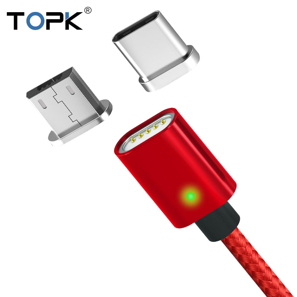 TOPK AM21 Magnetic Cable Type C Cable & Micro USB Cable Nylon Braided Data Sync Mobile Phone Charging Cable for Samsung Xiaomi|Mobile Phone Cables| |  - AliExpress