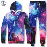 Headbook Galaxy Hooded Hoodies Men Women 3d Sweatshirts Print Colorful Stars Space Tracksuits Sets Long Pant