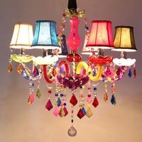 Multi color chandelier Restaurant Bar Kitchen Girls room Chandelier lustre Blue White Pink Lampshade Chandelier Lighting Fixture