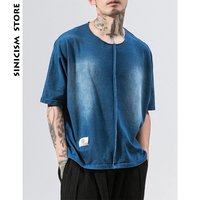 Sinicism Store 2018 Man Denim Jeans T shirt Summer Mens Half Sleeve Tees Solid Patchwork Tshirts Male Fashion Casual T shirts