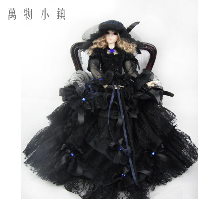 Accept custom NEW Black Lace with Royal Blue Polka Dot Dress Doll Skirts 1/3 1/4 Big girl SD MSD BJD Doll Clothes accept custom european style black leather suit bjd uncle 1 3 sd ssdf doll clothes