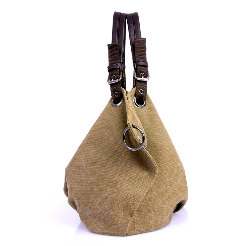Image 2 - Women Canvas Messenger Bags Female Crossbody Bags Solid Shoulder Bag Fashion Casual Designer Female Handbag Large Capacity Tote-in Shoulder Bags from Luggage & Bags