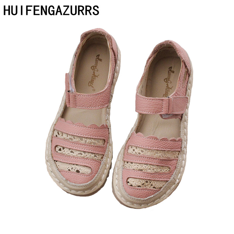 HUIFENGAZURRS The forest retro small fresh surface leather Original handwork sandals summer KoreanSuper soft bottom shoes