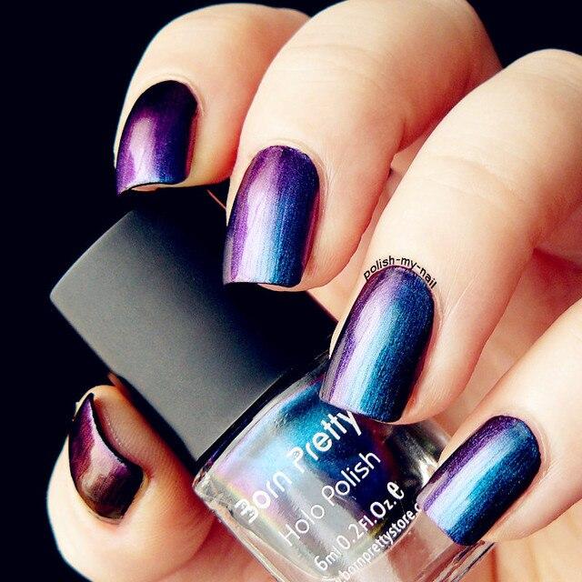 1 Bottle 6ml Born Pretty Chameleon Purple Blue Nail Polish Varnish High Quality Black