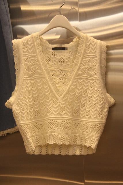 2016 Korea special custom hollow pattern V collar all-match wool vest