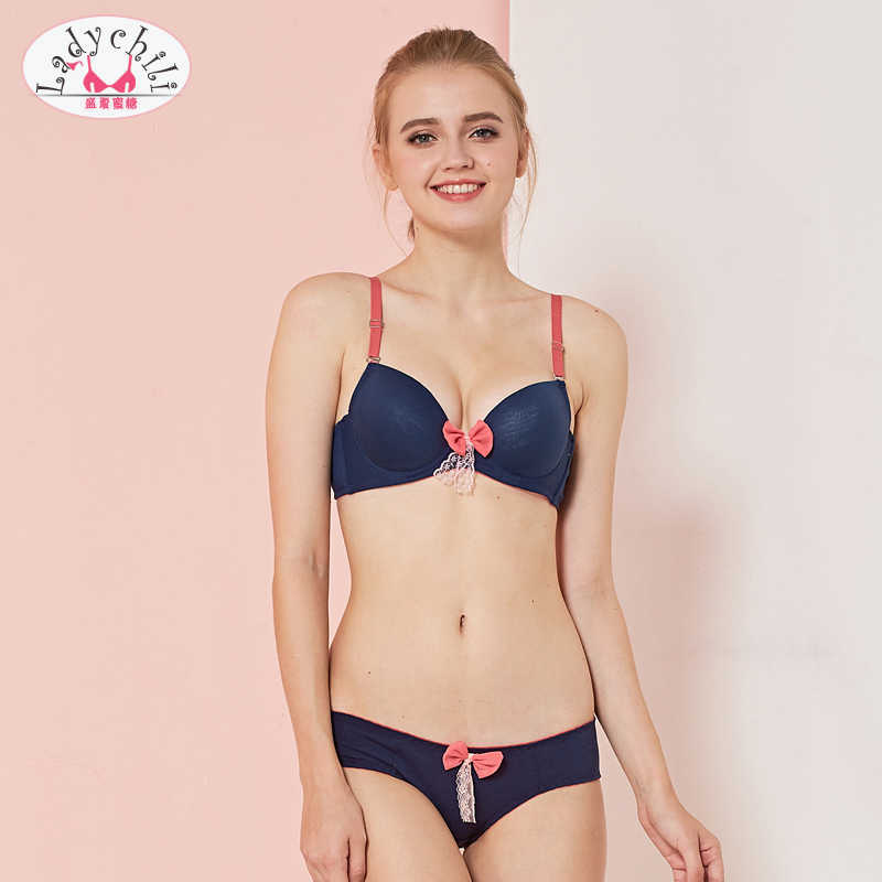 Ladychili Women Plain Color Cotton Comfortable Womens Bras And Underwear  Sets Pink Bow Lace Push Up 2c4495b40