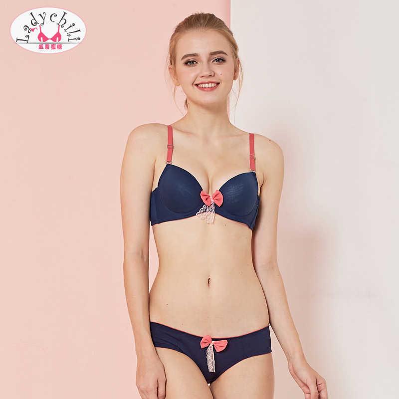 554eb8125bda Ladychili Women Plain Color Cotton Comfortable Womens Bras And Underwear  Sets Pink Bow Lace Push Up