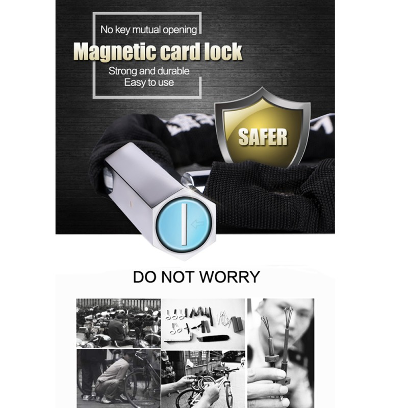 Bike Lock Anti-Theft Magnetic Card Key Steel Chain Bicycle Lock - Cycling - Photo 6