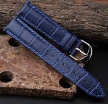 Montre Band 12 mm 14 mm 16 mm 18 mm 20 mm 22 mm femmes des hommes bleu foncé 100% véritable Crocodile Grain cuir bracelet Band Bracelets