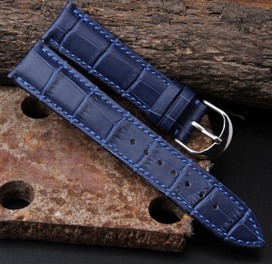 Watch band 12mm 14mm 16mm 18mm 20mm 22mm Mens Womens Dark Blue 100% Genuine Crocodile Grain Leather Watch Strap Band Bracelets