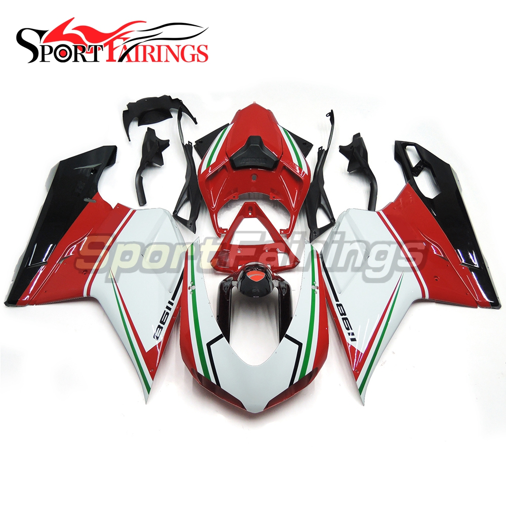 Sportfairings Injection ABS Plastic Fairing Kits For DUCATI 1098 848 1198 2007-2012 Year 07 08 09 10 11 12 Motorbike Cowlings Red White 7