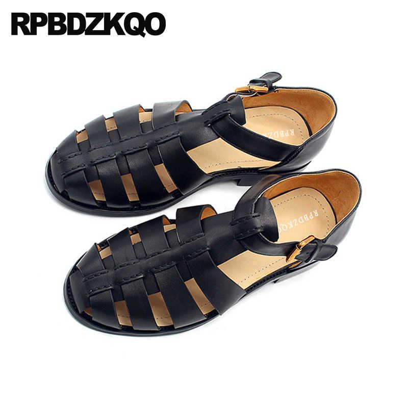 Oryginalne skórzane buty na co dzień wysokiej jakości Closed Toe rozmiar 45 Plus 2018 mężczyźni Sandały gladiatorki lato na zewnątrz czarny rzymskie duży