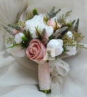 Simülasyon Çiçekler Çiçek Düğün Gelin Tutan Çiçekler Yapay Gelin Gelinlik Buketi Beyaz Pembe Güller Şakayık Ev Dekor