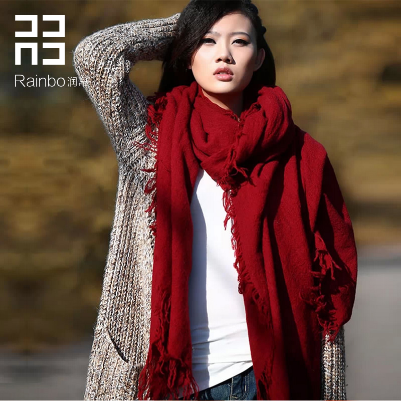 Ultralarge Wine red pure wool scarf autumn and winter thermal ultra long cape dual blanket scarf blanket scarf