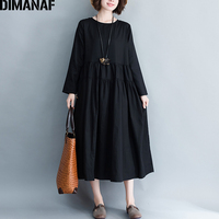 DIMANAF Women Winter Long Dresses Linen Ladies Elegant Vestidos Pleated Plus Size Female Clothes Loose Vintage Black Dress 2018