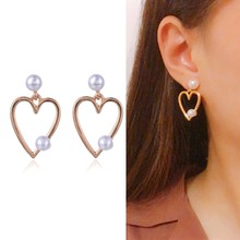 SUKI Lovely Hollow Out Simulated-pearl Charm Bridal Stud Earrings Popular Love Peach Heart Pendant Wedding Earring(China)