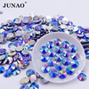 JUNAO Sewing 10mm Blue AB Crystals Rhinestones Flatback Acrylic Beads Round Rivoli Strass Stones For Dress Clothes