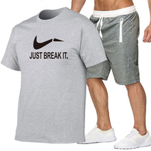 New Men Tracksuit Summer Cotton Short Set Brand Tshirt Breathable Casual Beach 2019 T-shirt Suit Fashion Mens