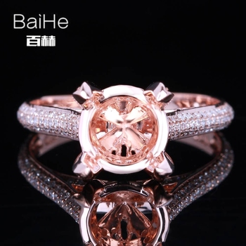 BAIHE sólido 10K oro rosa certificado redondo mujeres delicado de moda joyería elegante única joyería fina Semi montaje medio anillo de apoyo
