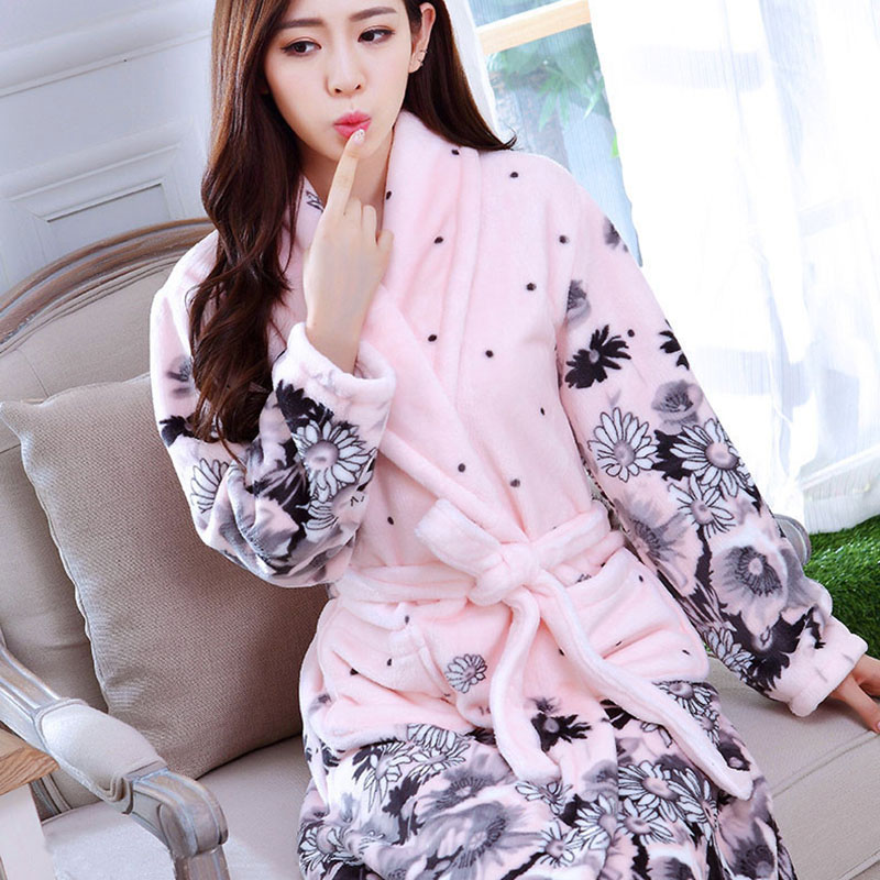 New Women Coral Fleece Sleepwear Sexy Kgurumi Winter Autumn Warm Bathrobe  Nightgown Kimono Dressing Gown Robe For Lady 9c41ab988