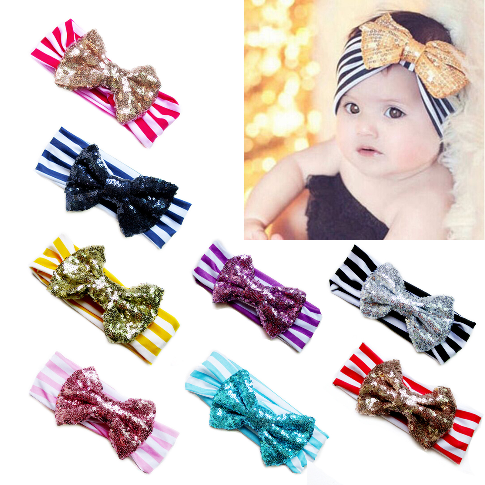 Baby Girl Hair Accessories 1PCS Best Deal 2016 Fashion Children Cute Sequins Bow Baby Girls Headband Headwears