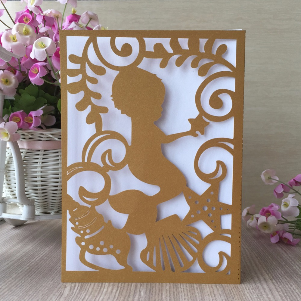 50Pcs Lot Latest Laser Cut Invitation Card Baptism Christening Birthday Party Decoration Gender Reveal