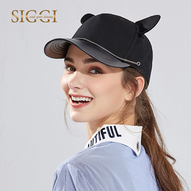 New Lady Summer Baseball Cap Adult Fashion Baseball Hat Students Cute Cat Ear Cap Hip-hop Cap Travel Sun Hat B-8075 summer can be folded anti uv sun hat sun protection for children to cover the sun with a large cap on the beach bike travel